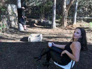 Kaffeepause im Garten von Casa Dolorosa auf Teneriffa während einer Session!