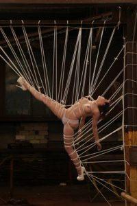 Straddle Bondage in High Heels Bondage Artist Lew Rebens!